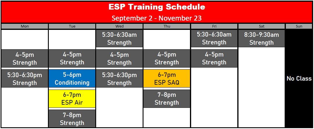 ESP Schedule Fall 2019