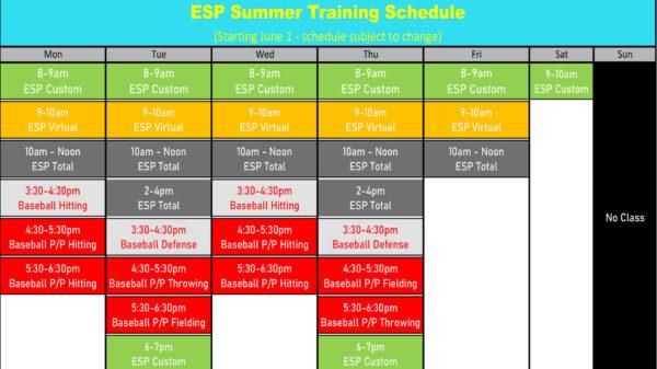Elite Sports Performance Schedule Summer 2020