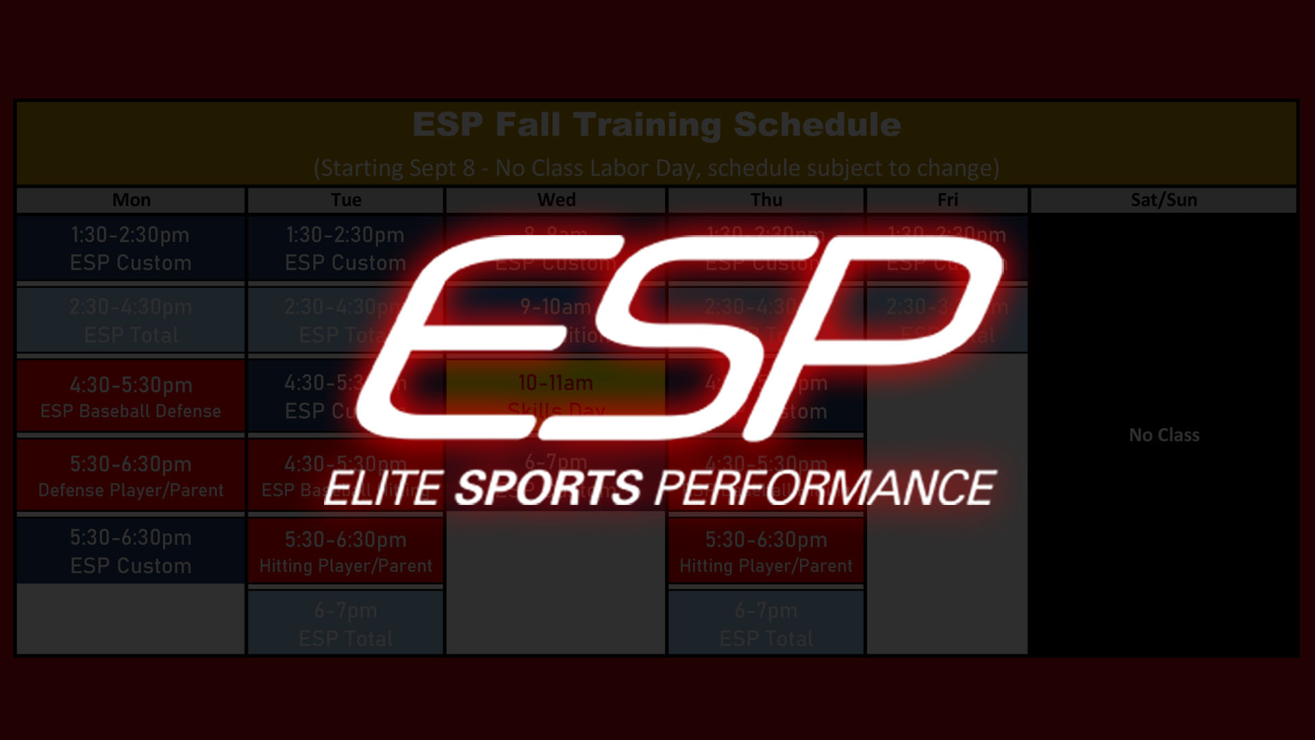 Elite Sports Performance - ESP 2020 Training Schedule Post Header