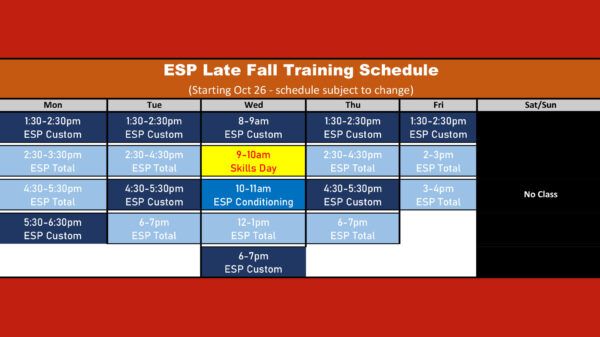 ESP 2020 Fall Winter Schedule