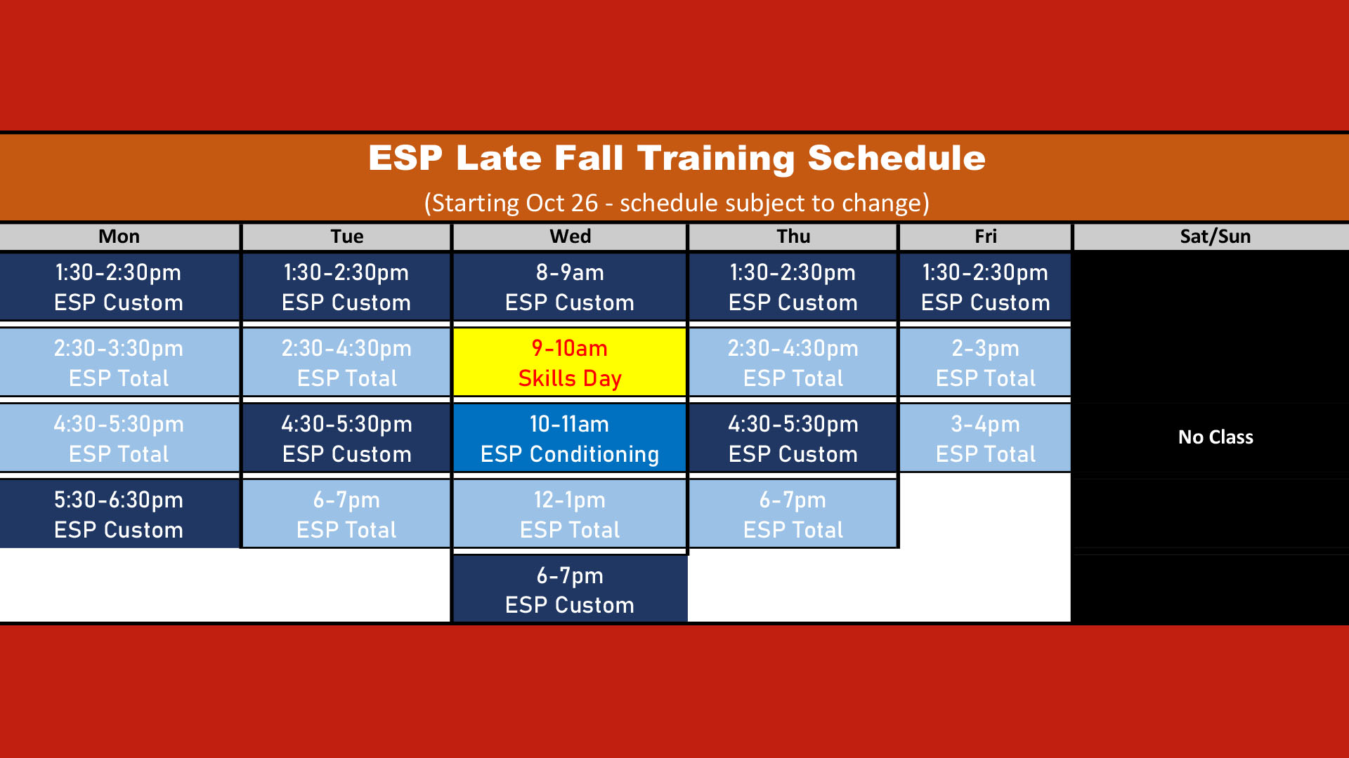ESP 2020 Fall Winter Schedule